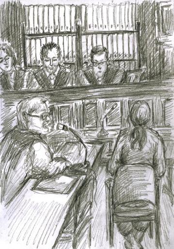 Zeuge mit blonder Langhaarperücke, Schnauzer und Brille