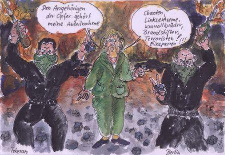 Merkels Sicht der Dinge über die Unruhen im Iran.