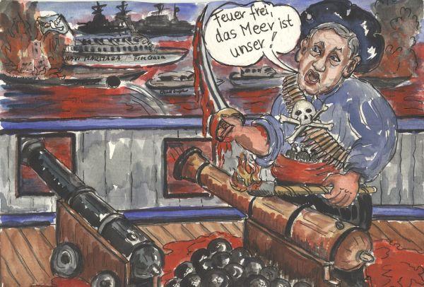 Piraten in allerhöchster Alarmbereitschaft, sie bereiten sich auf die nächsten Schiffe in Internationalen Gewässer vor. Das Meer färbt sich rot...