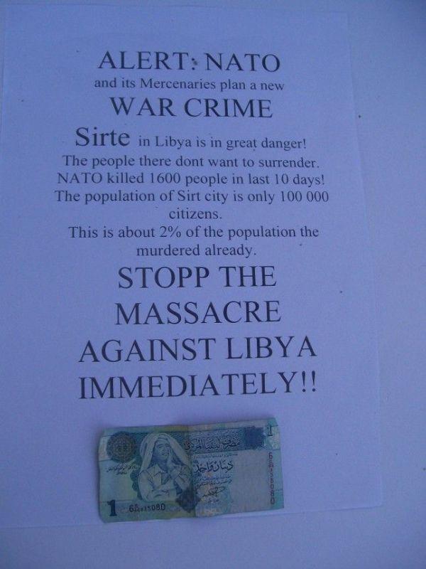 Beendet die Massaker der NATO in Libyen