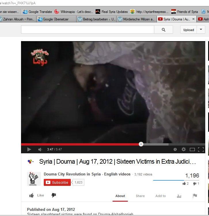 Nun von den Zahran Allouschgehilfen in einem Kühlhaus gefilmt, die Lügenpropaganda geht unverfroren weiter