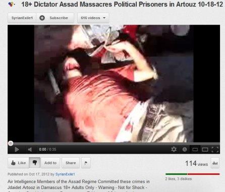 Dem Opfer wurde die Kehle durchschnitten, hingemetzelt von einem wahabitischen Mob und FSA-Milizen.