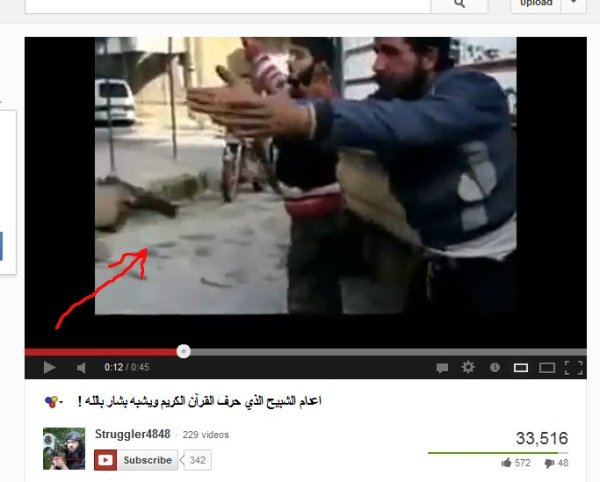 Auf einen unbewaffneten Mann wird ein Revolvermagazin abgeschossen, die Mannschaft grölt Takbit