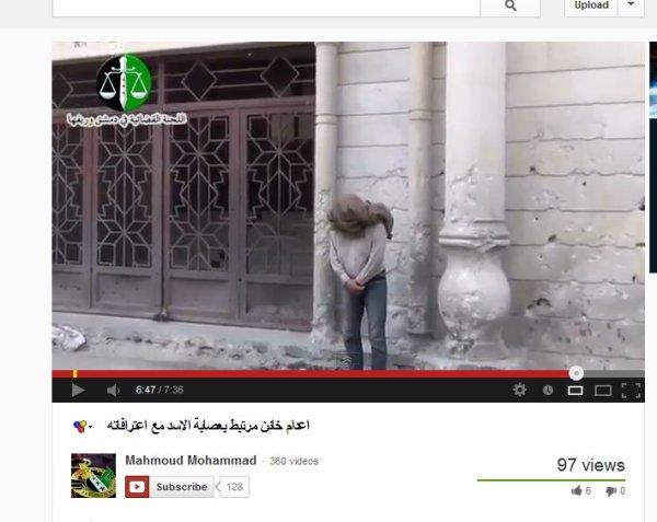 Jobar- Hinrichtungsort. Der Mann in dem Video-Screenshot wurde bei der großen Moschee von Jobar-Damaskus hingerichtet