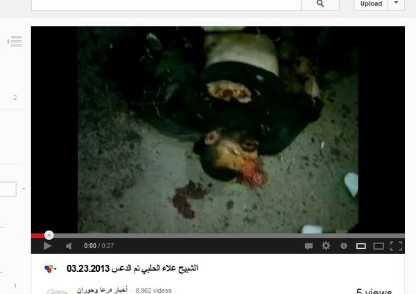 Alaa al-Halabi nach der Verhaftung , ermordet und auf die Straße geworfen