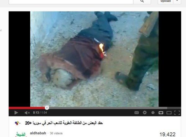 Perverse Propaganda der FSA-Milizen, von ihnen produziert, auf ihren Kanälen hochgeladen. Die Opfer zu Tätern umgelogen, sektiererisch belegt, ein deutliches Anzeichen für Oppositionsproduzenten und Mörder