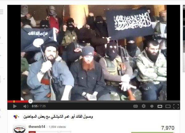 Kommandeur Abu Omar bittet um Spenden für den Jihad. er kommt aus Tschetschenien und spricht russisch