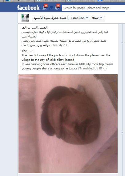 Der Kopf eines Piloten auf den Facebookseiten von Menschenrechtszeretern
