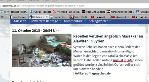 Hundert Ermordete unterschlagen  http://meta.tagesschau.de/id/78075/rebellen-verueben-angeblich-massaker-an-alawiten-in-syrien