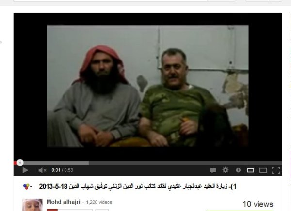 Oberst Akidi mit einem Kommandeur der Mudschaheddin , welche Khan Asal unsicher machen und auch Gefangene ermorden