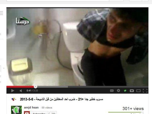 Das Opfer schwerstmißhandelt für Propaganda vor der Kamera. Eine Mord-inszenierung durch die FSA-Milizionäre von und um Damaskus