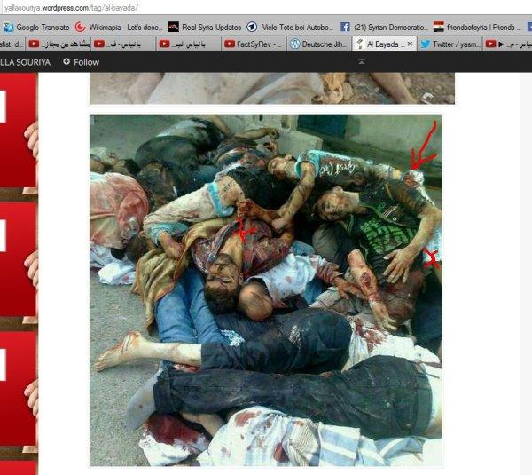 Die gleichen Leichen wie an der Wand aufgereiht, so geht man nicht mit Angehörigen um. Verantwortlich für diese und ähnliche Fotos dei opposition.