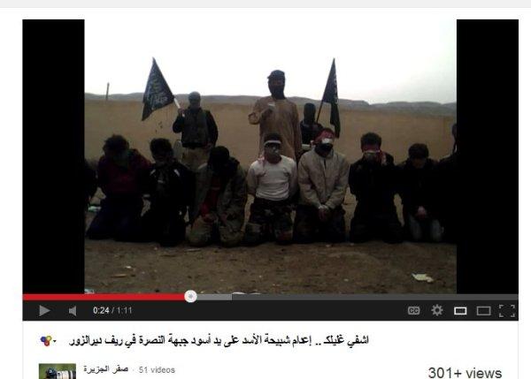 Eiskalte Mörder. Die opfer sollen syrische Soldaten gewesen sein, das Video bei twitter stolz von einem Oppositionellen verbreitet
