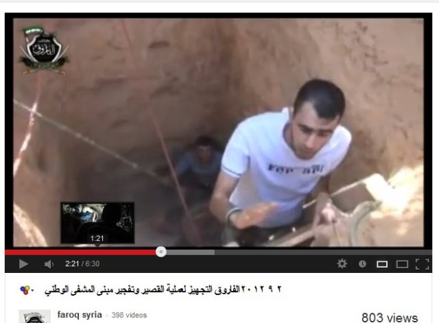 Kriegsverbrecher Hadi al Abdallah. Im Tunnel welcher für die Sprengung des Qusair National-Hospital gegraben wurde um auch die Gefangenen mit in die Luft zu sprengen