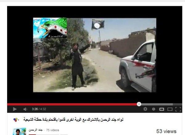 Jund al-Rahman Brigade mit al-Kaida-Fahne.