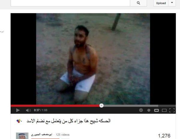 Das Opfer hilflos seinen Folteren und Mördern ausgeliefert kurz vor seinem Tod.