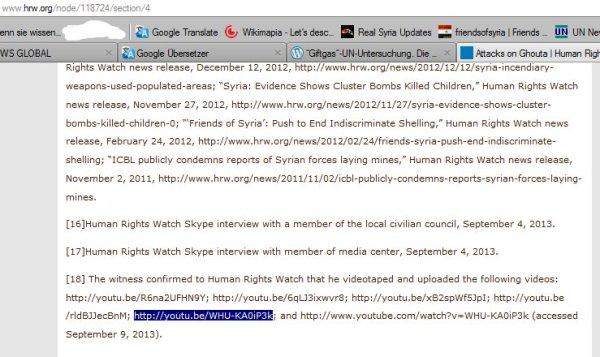 Das Filmaterial des Zeuhgen welchen HRW für glaubwürdig hält!