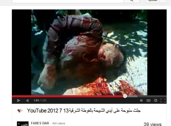 """diesmal Qaboun, die kehle durchgeschnitten. Die """"Entdecker"""" der Leichen gehen robust mit Opfern um!"""