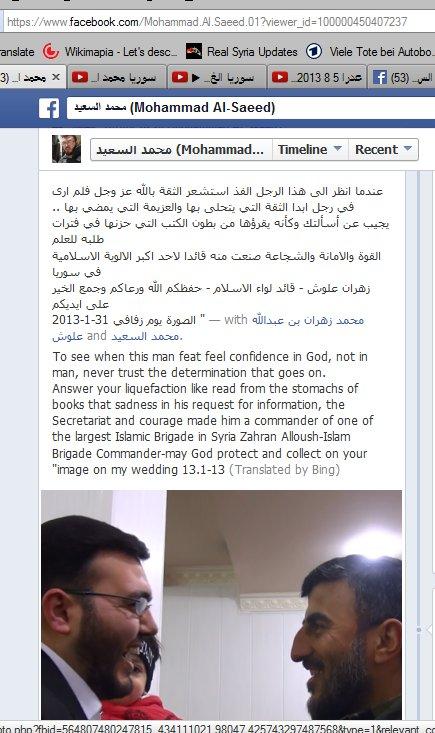 Saeed, der Propagandist aus zamalka ist bestens bekannt mit Zahran Alloush