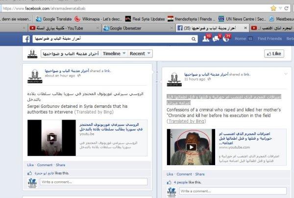 Eindeutig ein FSA Richter und Henker-Willkür-Gericht. Im Screenshot links eine weitere Geisel, ein russischer Ingenieur welcher ausgetauscht werden soll. Wenn man nicht auf die Bedingungen der Entfüher eingeht, so ist der Mann dem sichern Tod ausgeliefert.