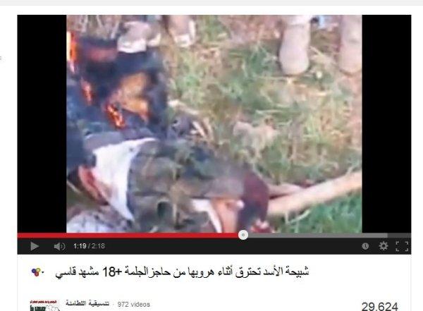 Terroristenpropaganda mit brennenden Trophäen Hama