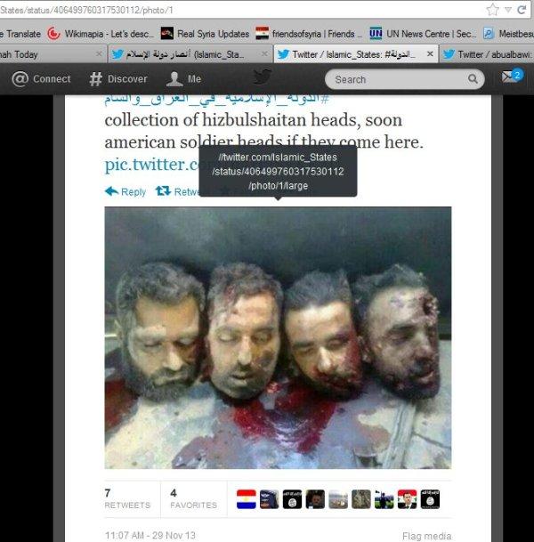 Vier köpfe als hisbollah bezeichnet, ich kann nicht unterscheiden ob die Köpfe von Zivilisten, Soldaten stammen stammen.