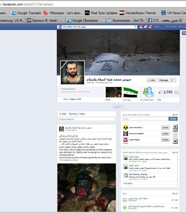 Bilder von den Seiten der Islam Armee, als Vergeltung für Nabek beschrieben