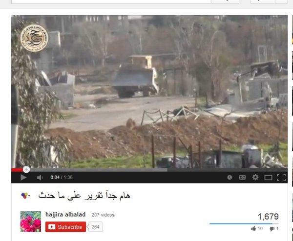 Bulldozer kehrt um, die Terroristen lachen