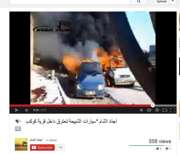 Massaker an einem Ortscheckpoint angerichtet, die Fahrzeuge angezündet