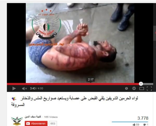 Füher haben sie bei solchen Foltervideos behauptet die Folterer wären syrische Sicherheitskräfte gewesen. Nun machen sie sich nicht mehr die Mühe ihre Verbrechen anderen unterzuschieben
