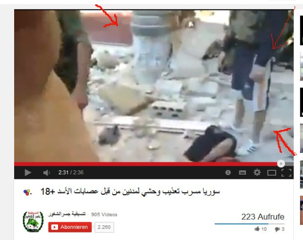 Keine syrischen Soldaten, auch keine NDF. Die Folterknechte un d vermutlichen Mörder die FSA-Todesschwadrone