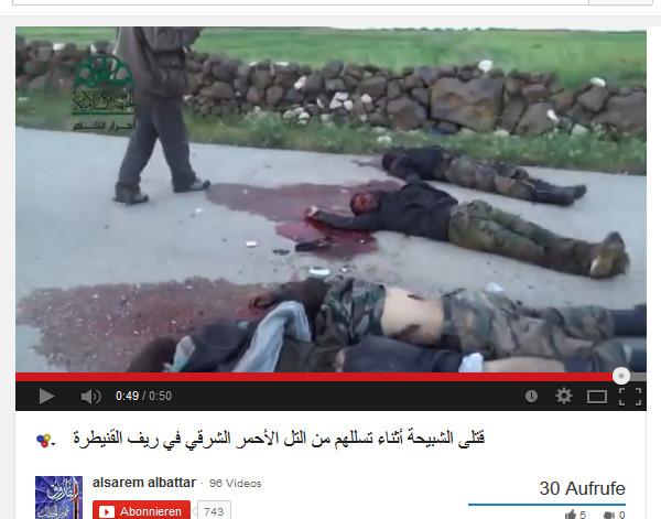 Gefangene massakiert, die Gesichter zerschossen