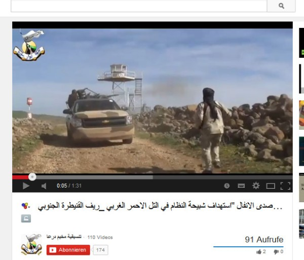 UN-Wachturm, die Terroristen schießen auf den Roten Berg