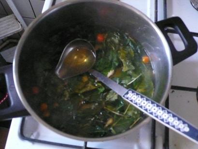 Gekochte suppe verfärbtes wasser